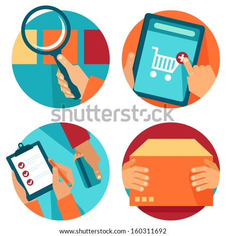 Vector internet shopping icons in flat style - search, order, pay, deliver