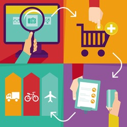 Vector internet shopping infographics - process of purchasing online in flat retro style