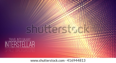 Vector interstellar space background.Cosmic galaxy illustration.Background with nebula, stardust and bright shining stars.Vector Illustration for party flyers,artwork, brochures, posters.
