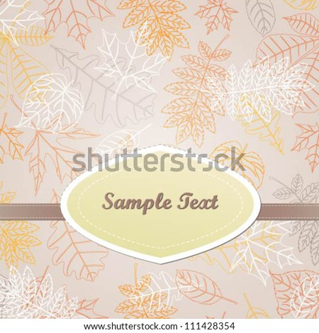 Vector invitation card with colorful leaves - stock vector