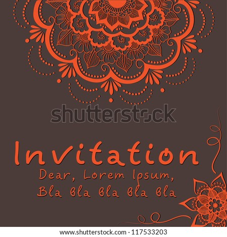 Vector invitation card with floral element