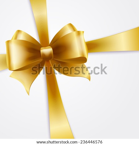 Vector Invitation card with gold holiday ribbon and bow