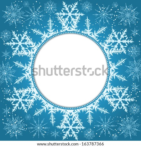 Vector invitation card with snowflakes. New Year invitation card. Nice template for your designs.