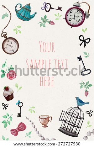 vector invitation card with tea
