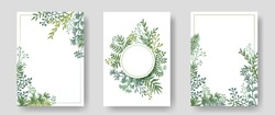 Vector invitation cards with herbal twigs and branches wreath and corners border frames. Rustic vintage bouquets with fern fronds, mistletoe twigs, willow, palm branches in green colors.