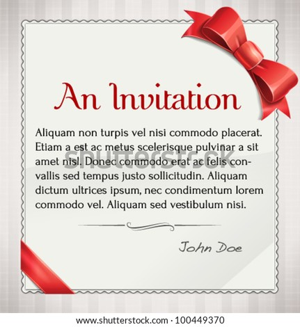 Vector Invitation With Red Bow And Ribbon