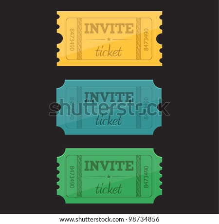 Vector invite ticket in three colors - stock vector