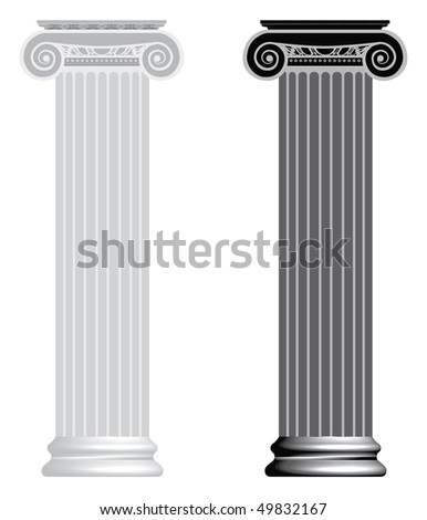 Vector Ionic column isolated on white background