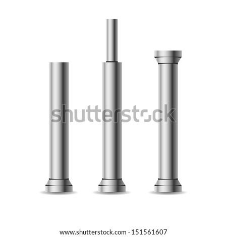 Vector iron columns isolated on white