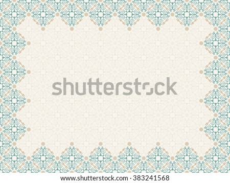 Vector islam pattern border frame. Seamless pattern arabic ornament. Vintage oriental elements design in Victorian style. Ornamental luxury background. Ornate floral decor wallpaper. Seamless texture