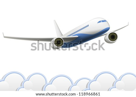 Vector  isolated Aeroplane on white background with clouds