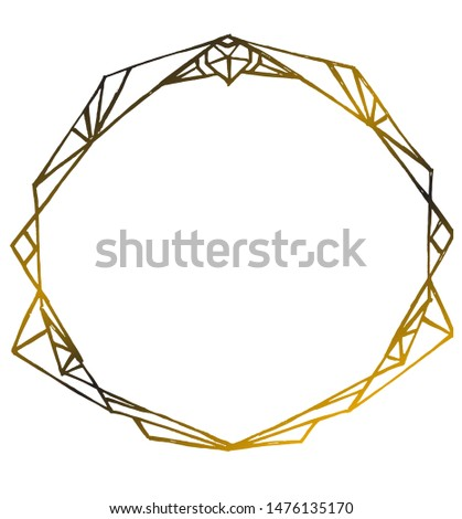 Vector isolated Art Deco styled frame, hand drawn style