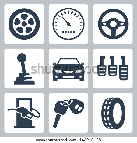 Vector isolated auto icons set