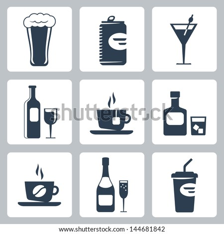 vector isolated beverages icons