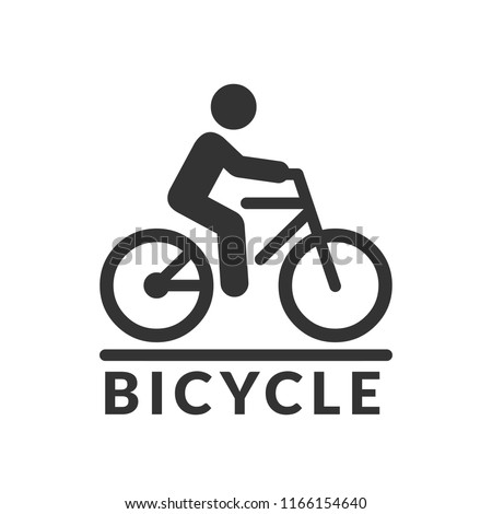Vector isolated bicycle icon. Bike silhouette symbol with rider on road sign.