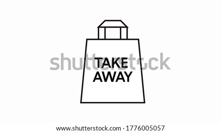 Vector Isolated Black and White Take Away Bag Icon or Sign Foto d'archivio ©