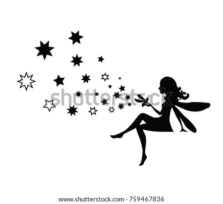 vector isolated black fairy