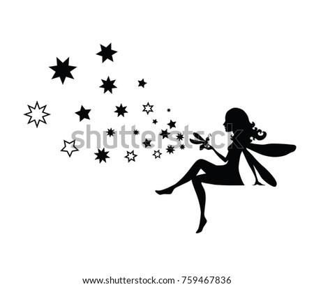 vector isolated black fairy