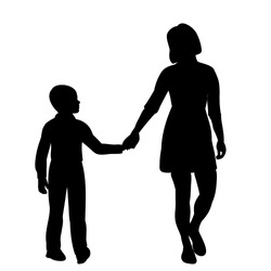 vector, isolated, black silhouette mom and son