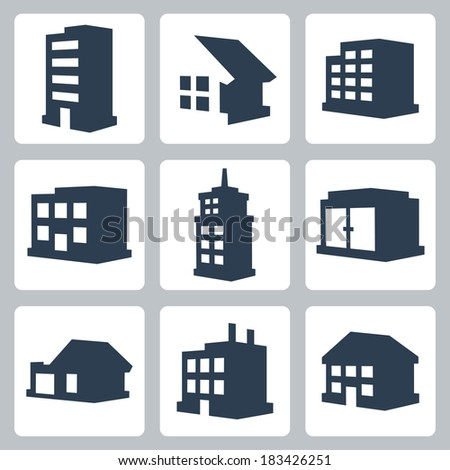 Vector isolated buildings icons set
