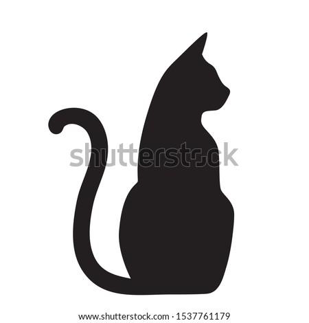 Vector isolated cat silhouette, logo, print, decorative sticker