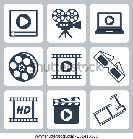 Vector isolated cinema/video icons set