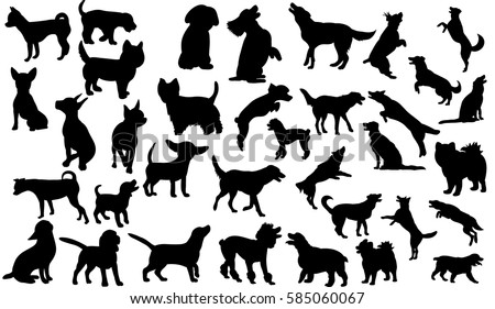 vector isolated collection of silhouettes of dogs