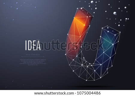 Vector isolated colorful magnet. Low poly wireframe and points. Polygonal 3D white attraction concept on dark background. loadstone with geometry triangle. Abstract business mash line origami