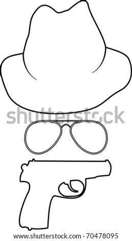Vector isolated comic contour illustration - cartoon spy accessories