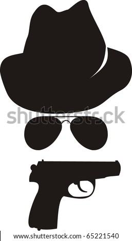 Vector isolated comic illustration - cartoon spy accessories