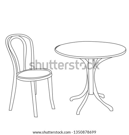 vector, isolated, contour, sketch, round table and chair #1350878699