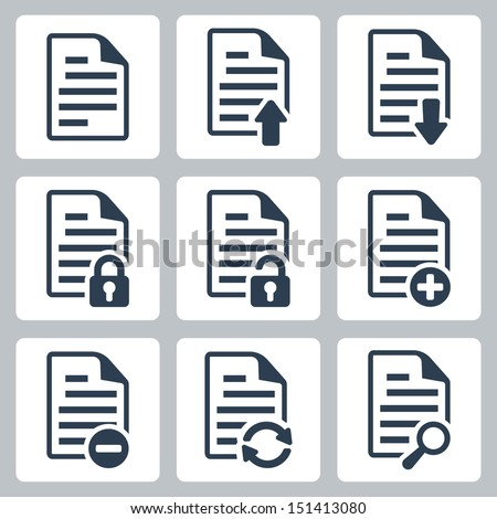 Vector isolated document icons set