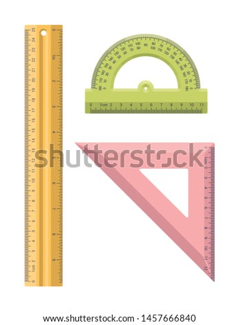 Vector isolated flat stationery rulers set. Ruler, protractor, corner ruler