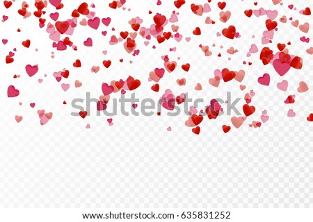 Vector isolated heart pink confetti on the white background. Concept of happy birthday, party, romantic event and holidays.