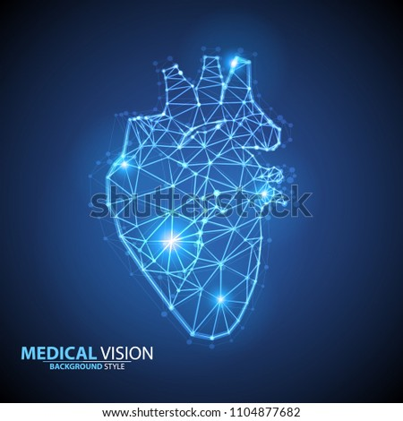 Vector isolated heart with pain center. Low poly wireframe and points. Polygonal 3D white human organ on background. Medicine concept with geometry triangle. Abstract heart pain mash line origami