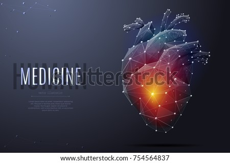Vector Isolated Heart With Pain Center Low Poly Wireframe And Points Polygonal 3D White
