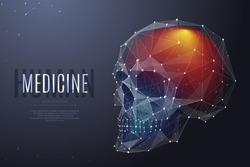 Vector isolated human skull with pain center. Headache Low poly wireframe and points. Polygonal white brainpan on dark background. Medicine concept with geometry triangle. Abstract mash line origami