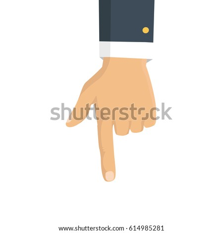 Vector isolated illustration. Hand with pointing finger.