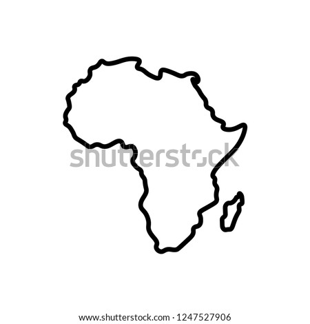 Vector isolated illustration icon with black outline continent Africa and Madagackar. White background