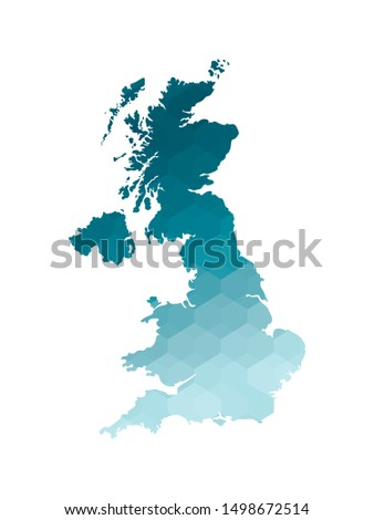 Vector isolated illustration icon with simplified blue silhouette of United Kingdom of Great Britain and Northern Ireland (UK) map. Polygonal geometric style. White background.