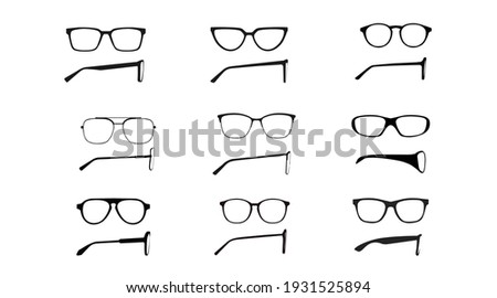 Vector isolated Illustration of a Glasses Frame Set. Set of Black glasses Frame Front and Side View