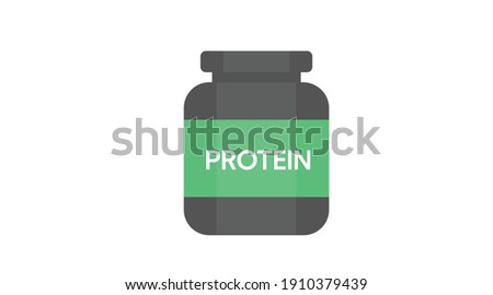 Vector Isolated Illustration of a Protein Whey Bottle. Flat Protein Bottle Icon Foto stock ©
