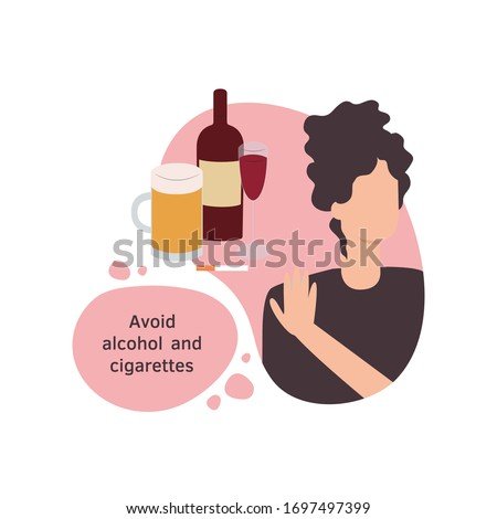 Vector isolated illustration of a woman avoiding alcohol and cigarettes in a flat design style. Girl female character in a modern style. Avoid tobacco, beer, vine, smoking, drinking.