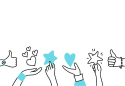 Vector isolated illustration of hands holding feedback symbols. Customer review concept. User satisfaction. Doodle illustration on white background. Email banner design