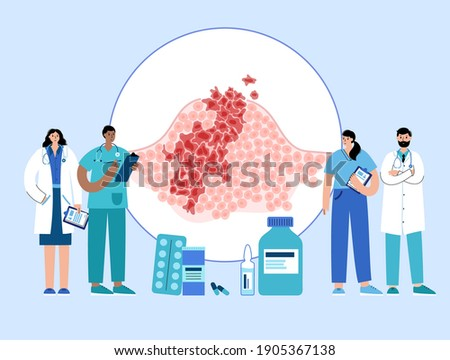 Vector isolated illustration of malignant tumor in healthy tissue. Doctor in laboratory. Spreading of cancer cells, tumor development concept. Medical infographic for poster, science and medical use. Stock photo ©