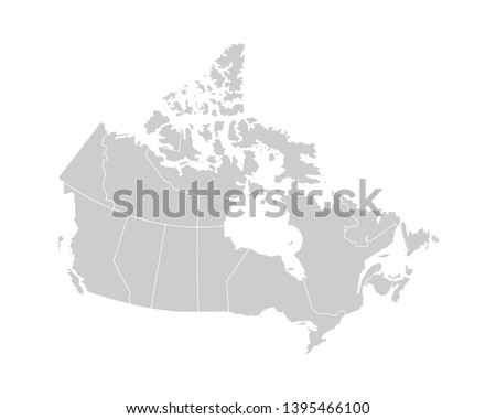 Vector isolated illustration of simplified administrative map of Canada. Borders of the provinces (regions). Grey silhouettes. White outline