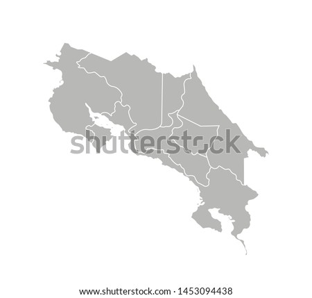 Vector isolated illustration of simplified administrative map of Costa Rica. Borders of the provinces (regions). Grey silhouettes. White outline.