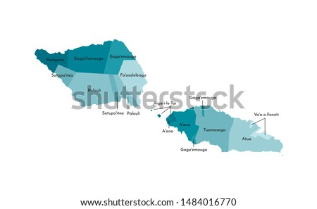 Vector isolated illustration of simplified administrative map of Samoa. Borders and names of the districts (regions). Colorful blue khaki silhouettes