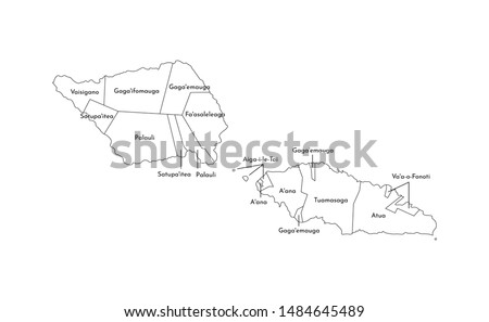 Vector isolated illustration of simplified administrative map of Samoa. Borders and names of the districts (regions). Black line silhouettes.