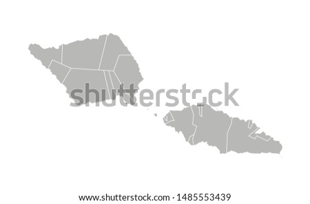 Vector isolated illustration of simplified administrative map of Samoa. Borders of the districts (regions). Grey silhouettes. White outline.